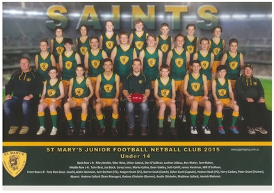 Saint Marys Team Photo 2015 U14 Football sm