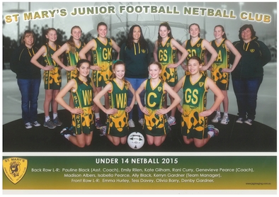 Saint Marys Team Photo 2015 U14 Netball sm