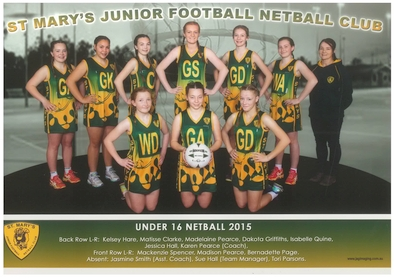Saint Marys Team Photo 2015 U16 Netball sm